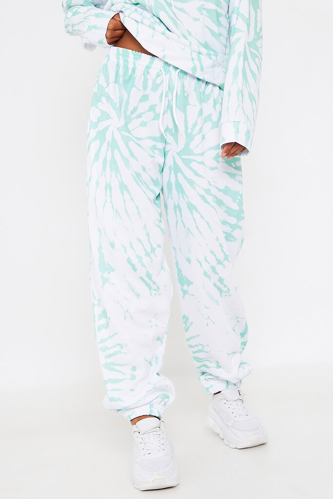 Mint Green Tie Dye Print Basic Jogger view 2