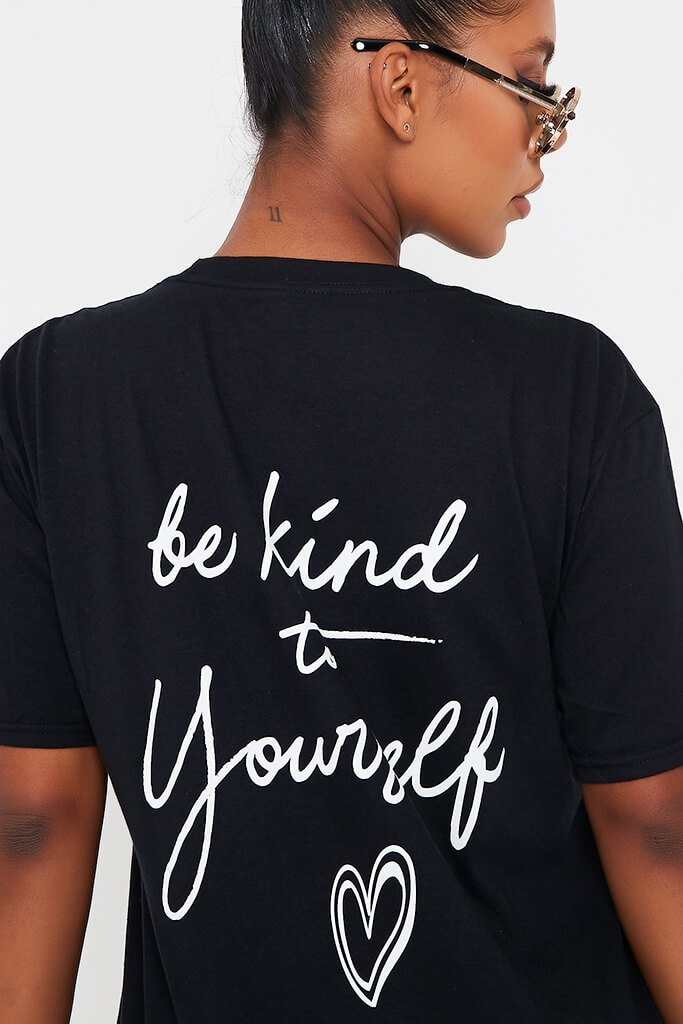 Black 'Be Kind To Yourself' Oversized T Shirt view 4