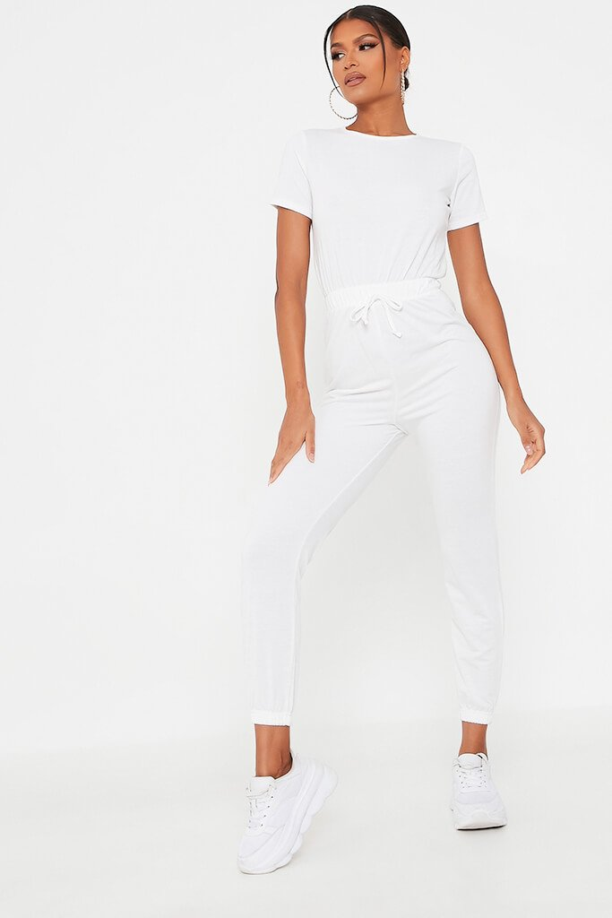 White Crew Neck Short Sleeve Sweat Jumpsuit view main view
