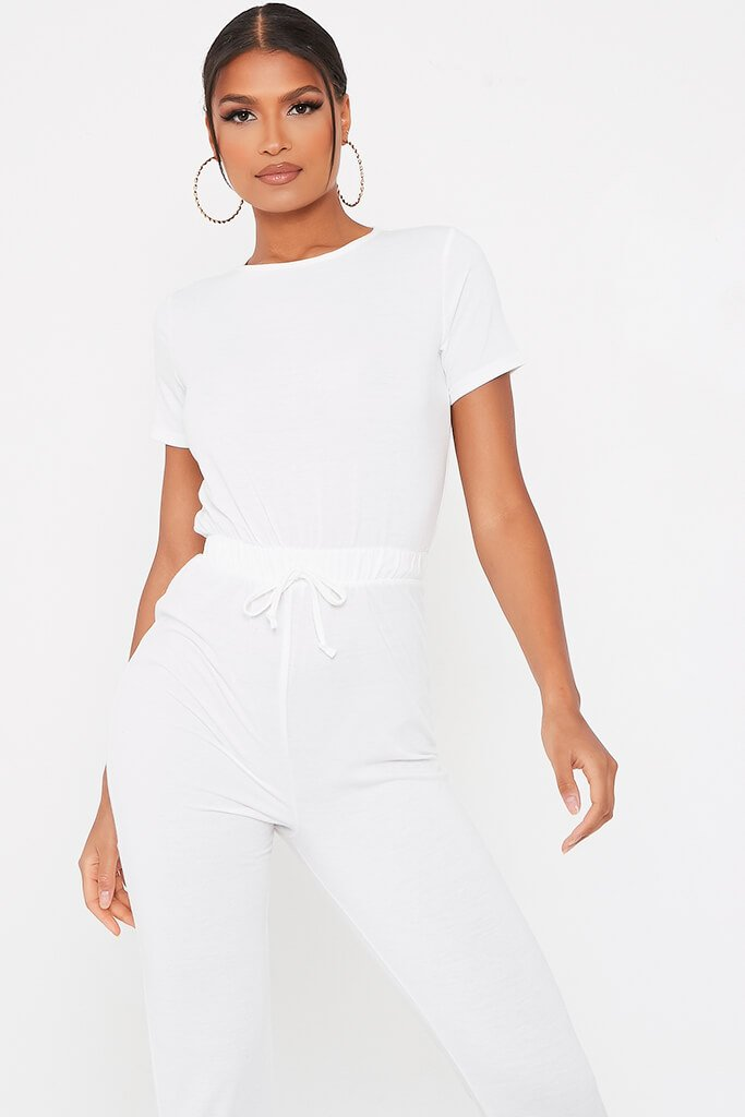 White Crew Neck Short Sleeve Sweat Jumpsuit view 2