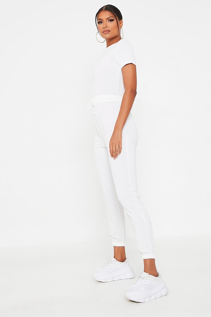 White Crew Neck Short Sleeve Sweat Jumpsuit view 3