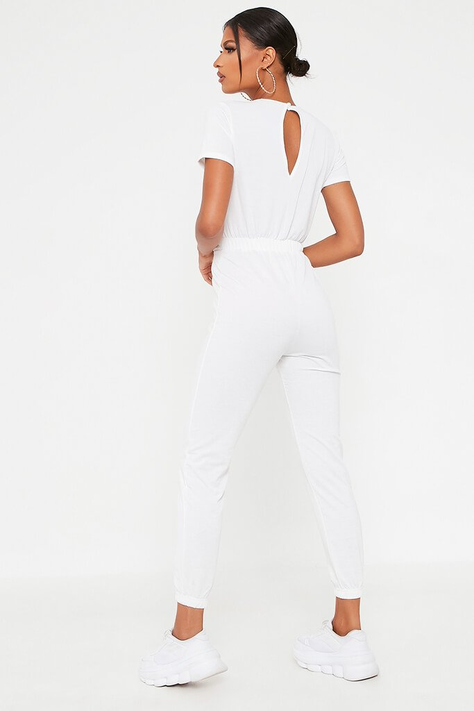 White Crew Neck Short Sleeve Sweat Jumpsuit view 5