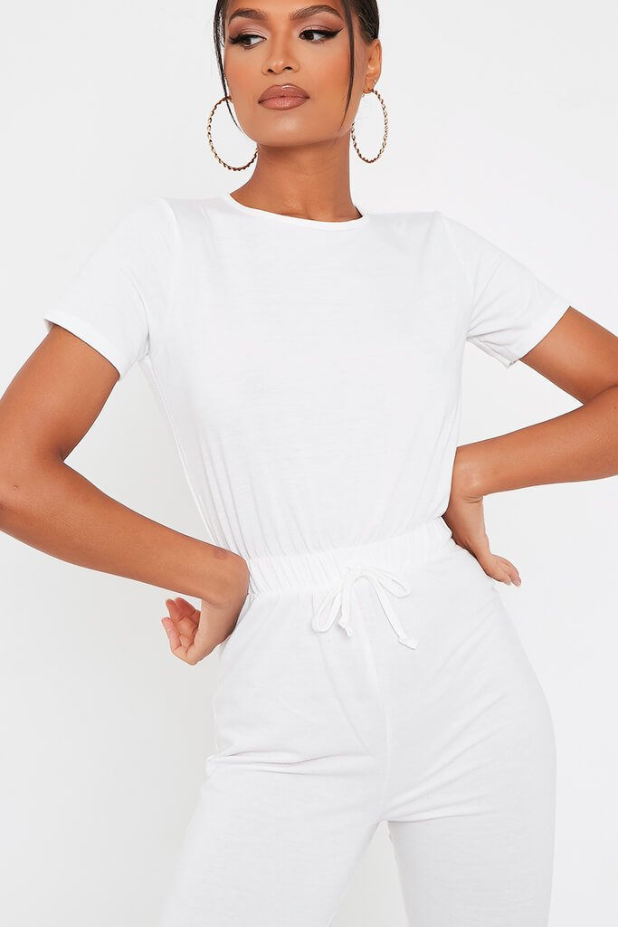 White Crew Neck Short Sleeve Sweat Jumpsuit view 4