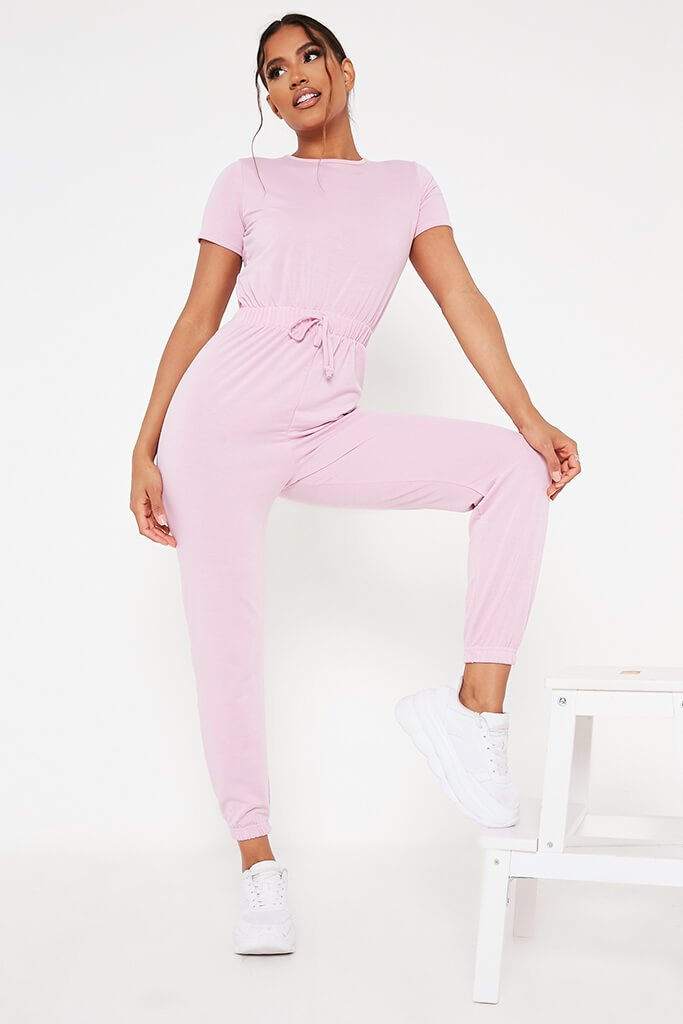 Baby Pink Crew Neck Short Sleeve Sweat Jumpsuit view main view