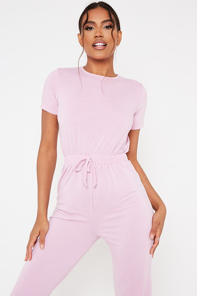 Baby Pink Crew Neck Short Sleeve Sweat Jumpsuit view 2