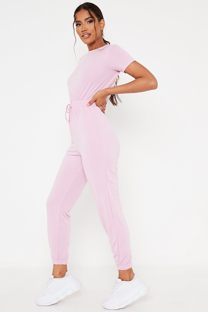 Baby Pink Crew Neck Short Sleeve Sweat Jumpsuit view 3