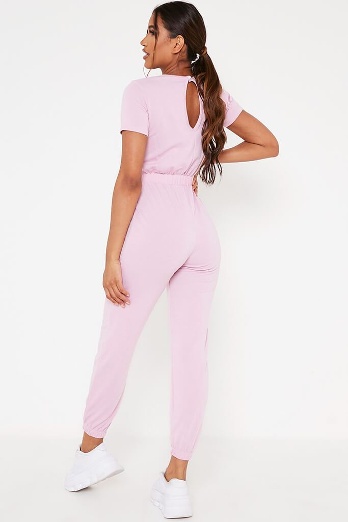 Baby Pink Crew Neck Short Sleeve Sweat Jumpsuit view 5