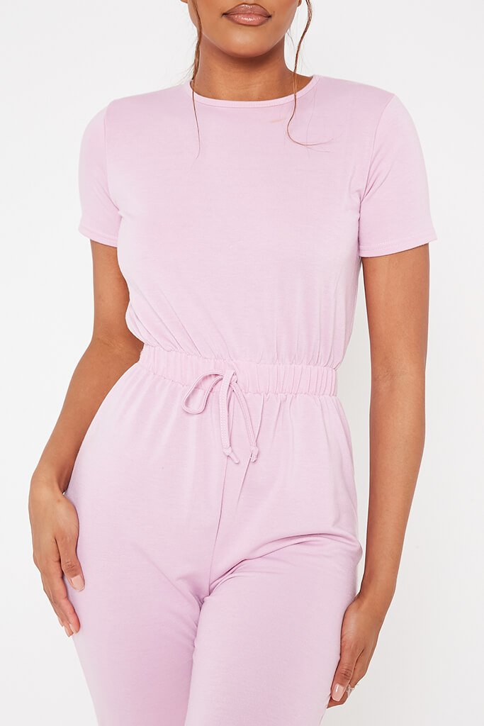 Baby Pink Crew Neck Short Sleeve Sweat Jumpsuit view 4