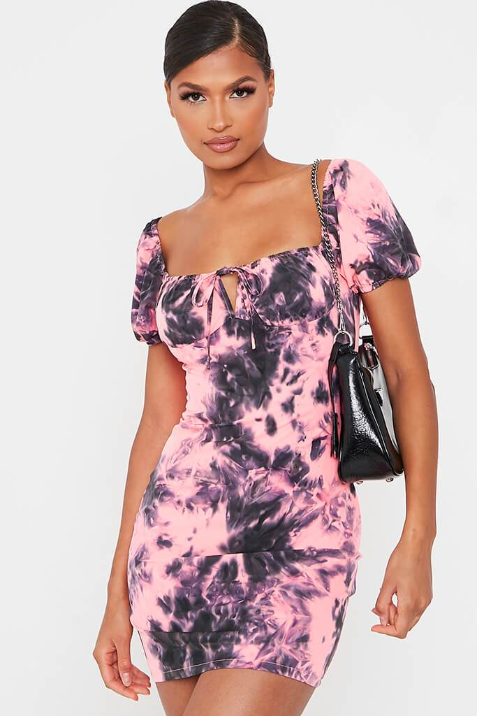 Neon Pink Tie Dye Puff Sleeve Bodycon Dress