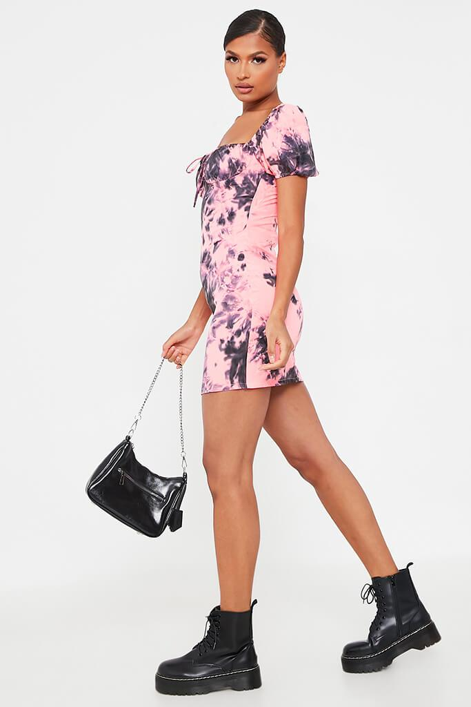 Neon Pink Tie Dye Puff Sleeve Bodycon Dress view 3