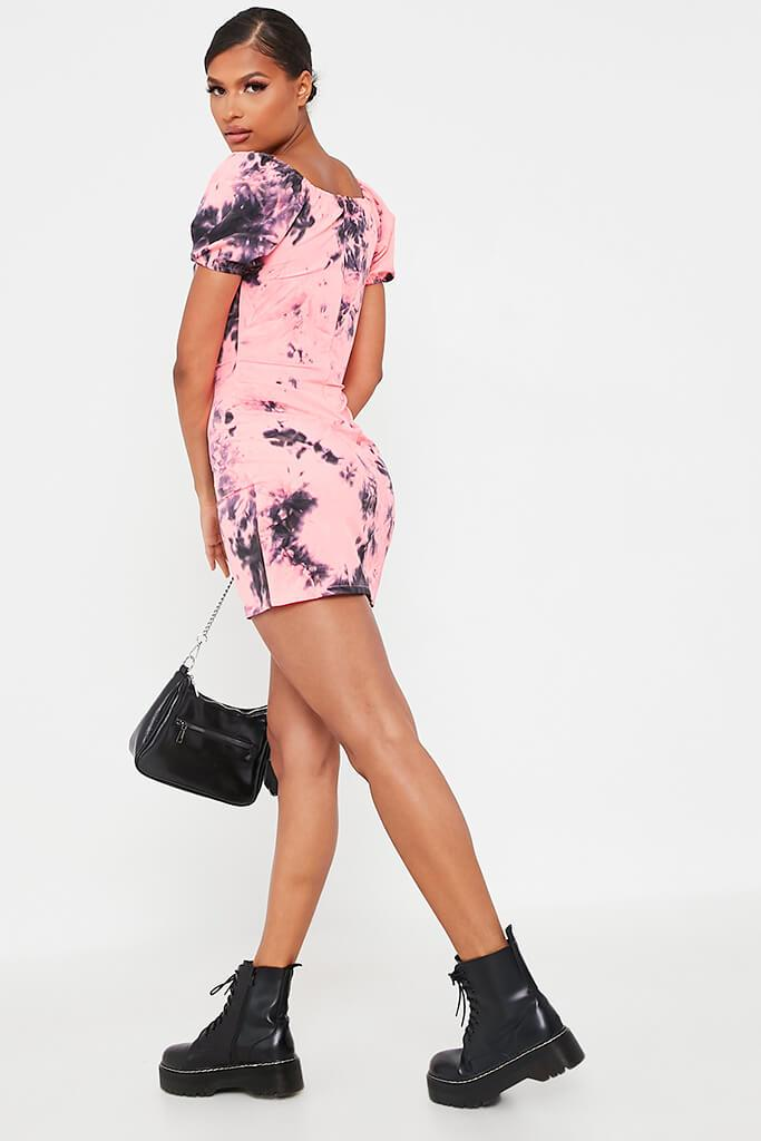 Neon Pink Tie Dye Puff Sleeve Bodycon Dress view 5