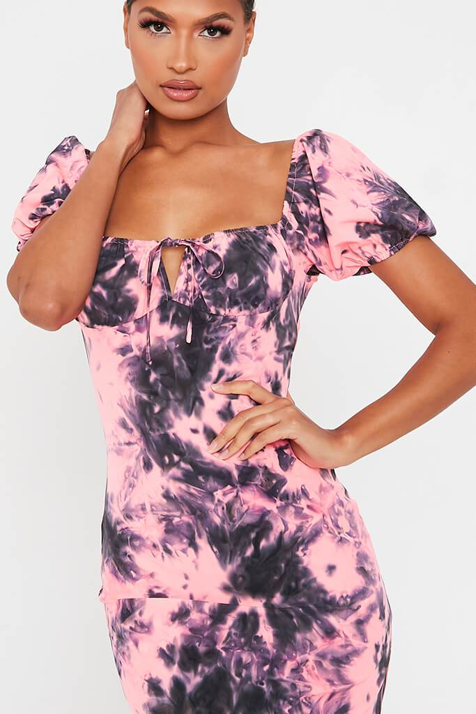 Neon Pink Tie Dye Puff Sleeve Bodycon Dress view 4