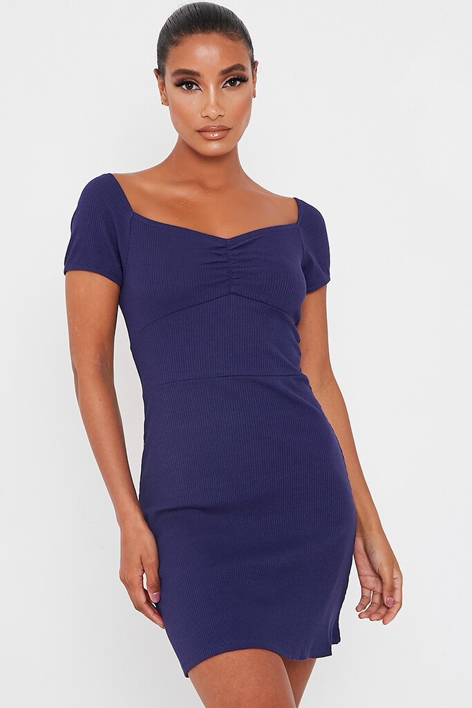Navy Ribbed Sweetheart Neck Short Sleeve Bodycon Dress