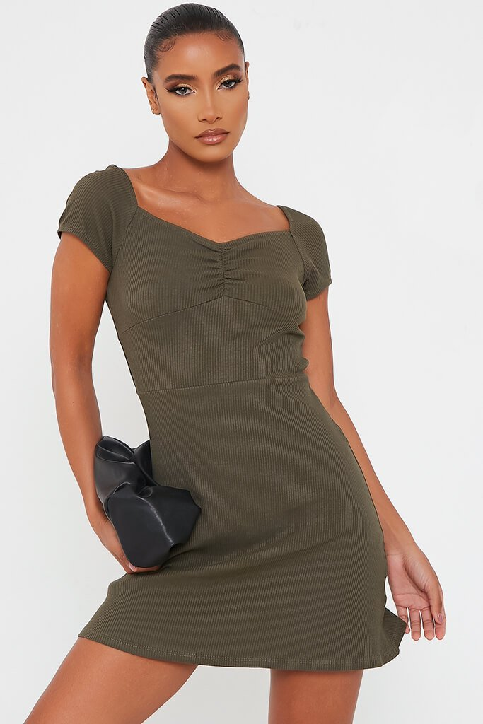 Khaki Ribbed Sweetheart Neck Short Sleeve Bodycon Dress