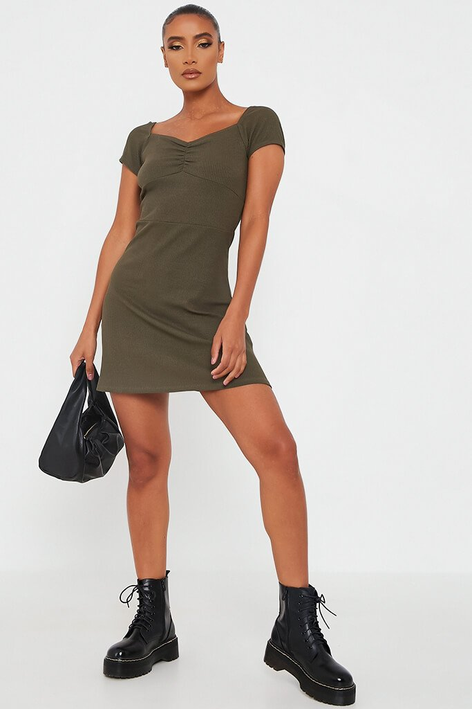 Khaki Ribbed Sweetheart Neck Short Sleeve Bodycon Dress view 2