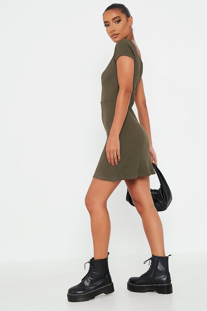 Khaki Ribbed Sweetheart Neck Short Sleeve Bodycon Dress view 3