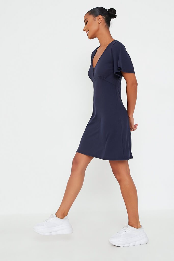 Navy Rib V Neck Button Bust Detail Tea Dress view 3