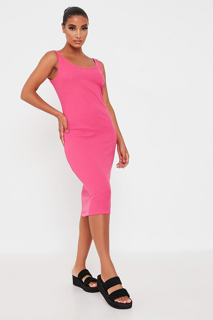 Hot Pink Rib Scoop Neck Bodycon Midi Dress view main view