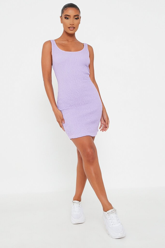 Lilac Cotton Scoop Neck Shirred Bodycon Mini Dress view 2