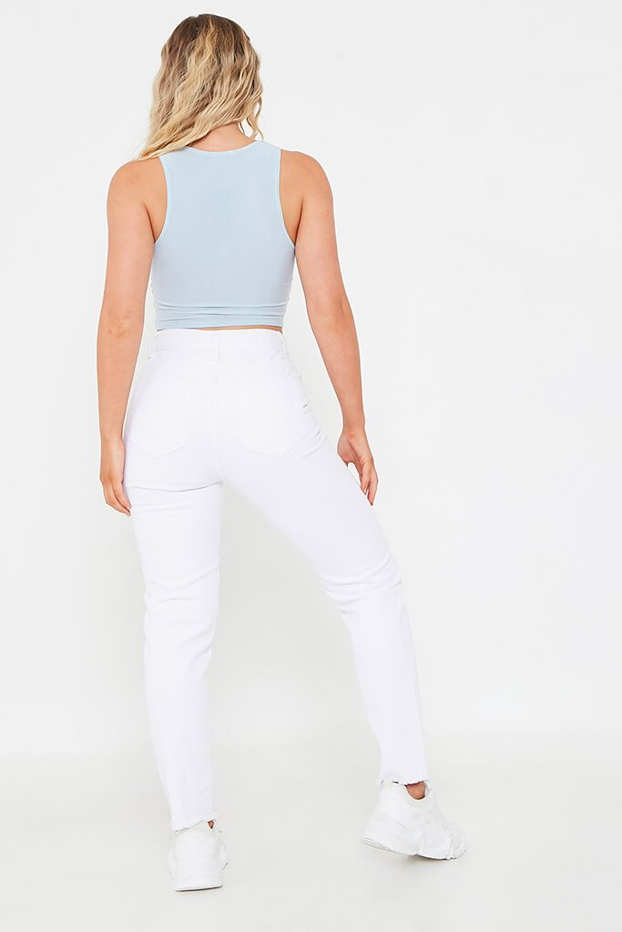 Pastel Blue Basic Slinky Ruched Front Sleeveless Top view 5