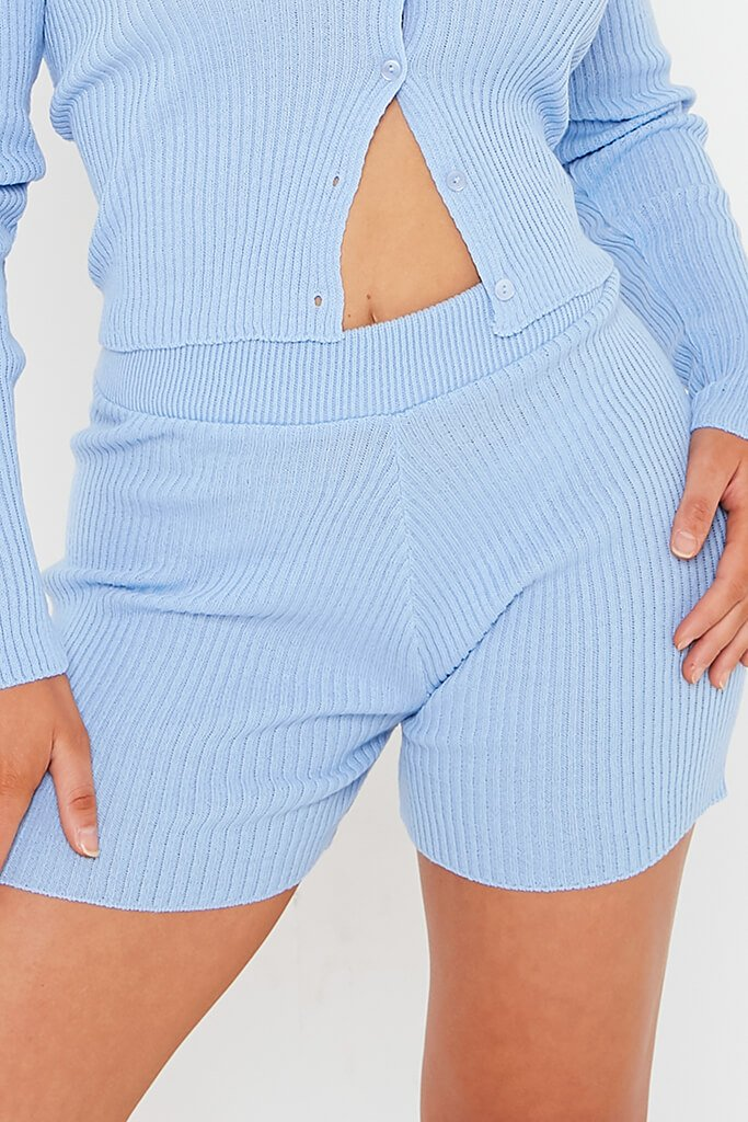 Blue Knitted Short view 4