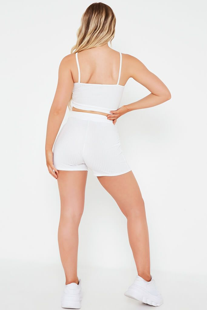 Cream Ribbed Tie Waist Short view 5