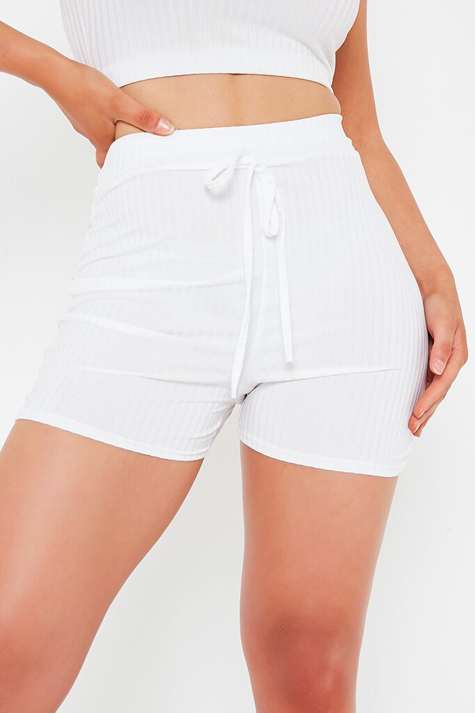 Cream Ribbed Tie Waist Short view 4