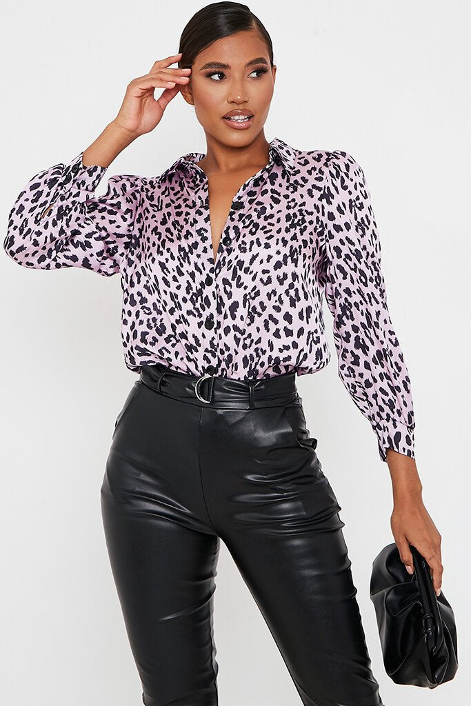 Pink Leopard Print Satin Long Sleeve Shirt view main view