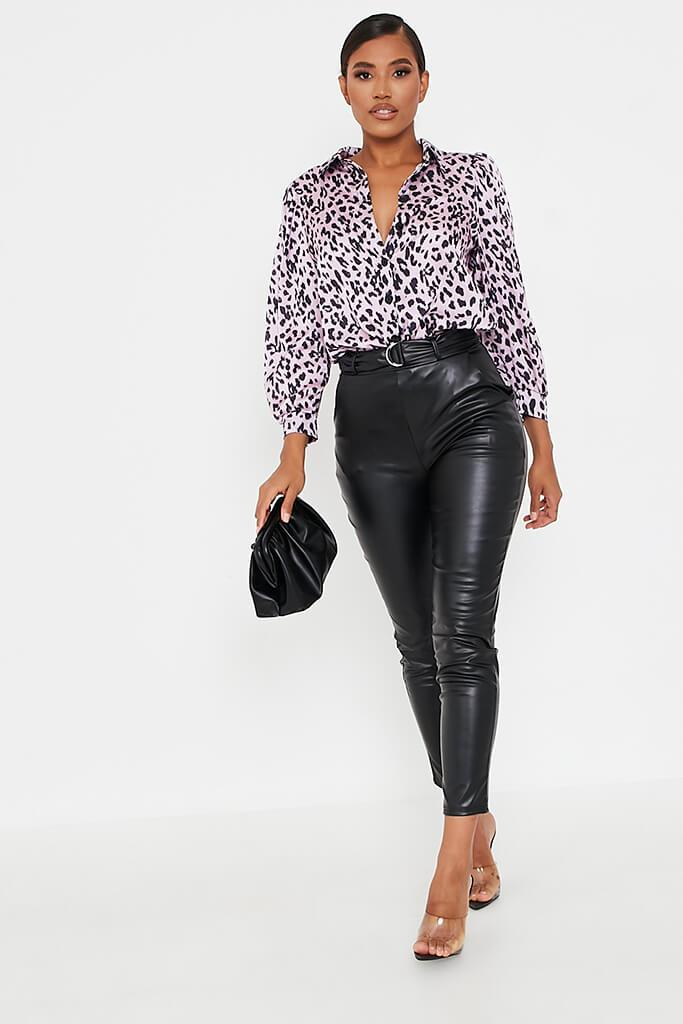 Pink Leopard Print Satin Long Sleeve Shirt view 2