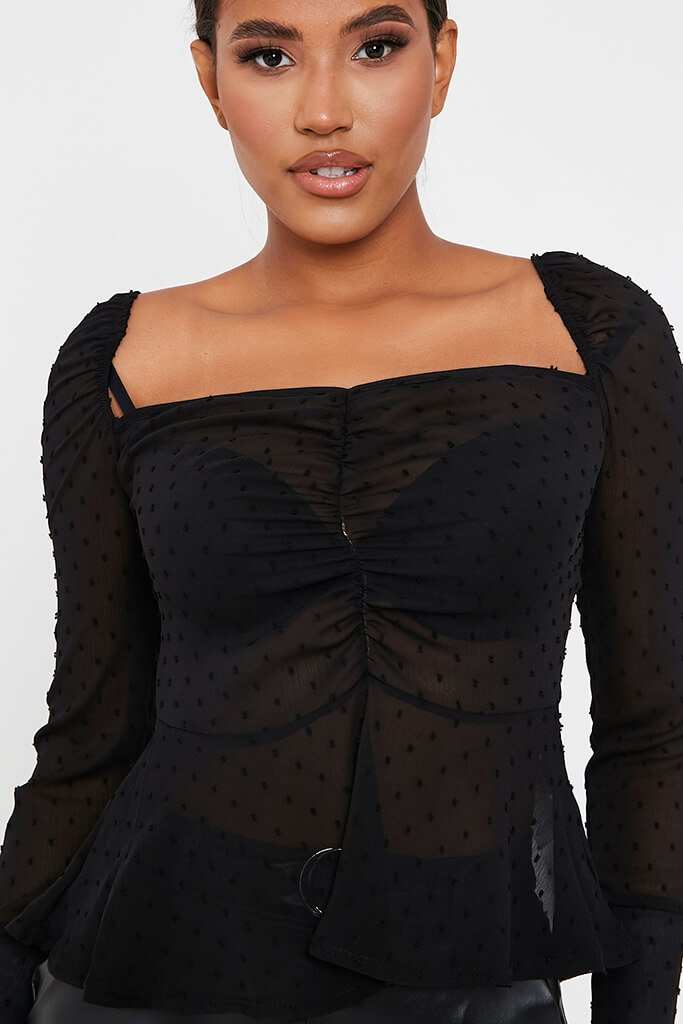 Black Woven Dobby Chiffon Ruched Peplum Top view 4