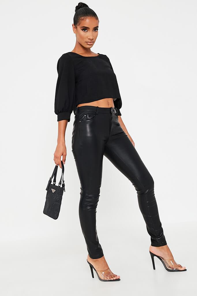 Black Woven Twill Scoop Neck Crop Blouse view 3