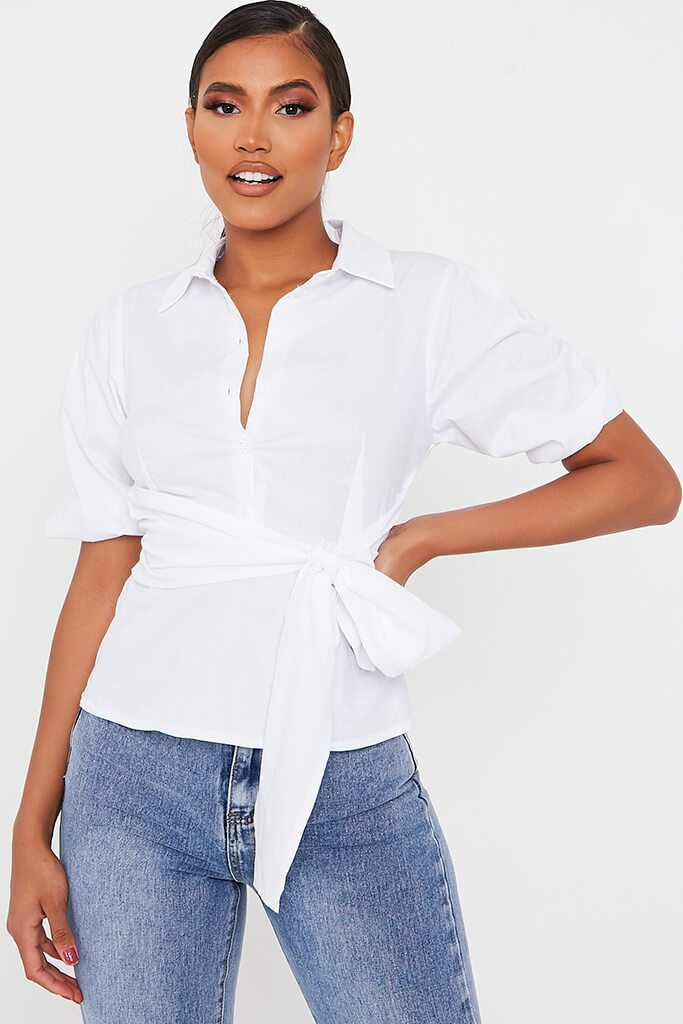 White Cotton Poplin Tie Waist Shirt view main view