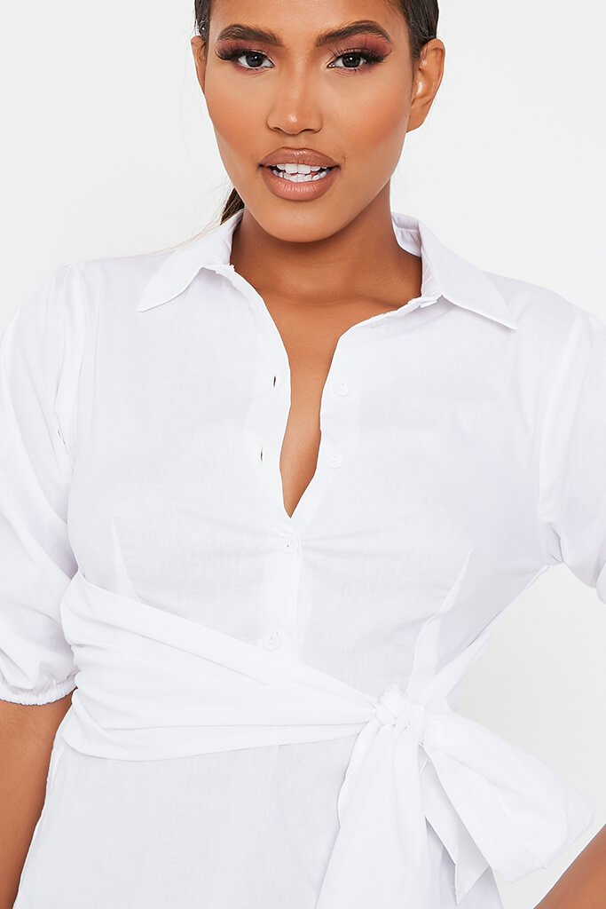 White Cotton Poplin Tie Waist Shirt view 4