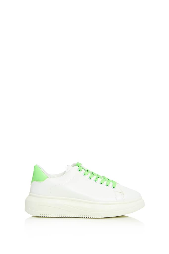 Neon Green Contrast Lace Platform Trainers view main view