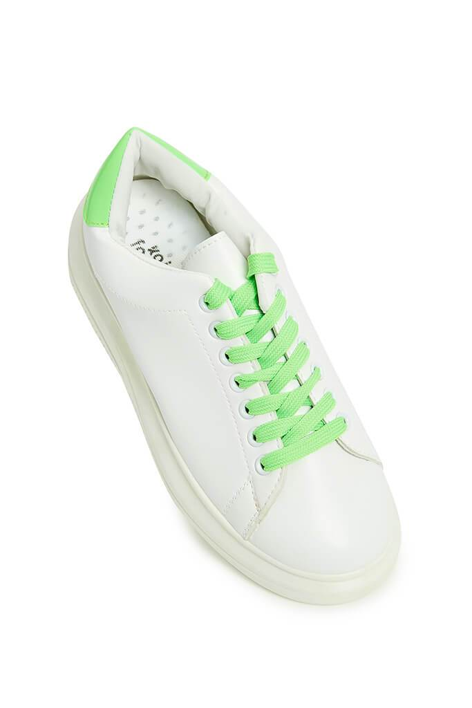 Neon Green Contrast Lace Platform Trainers view 2