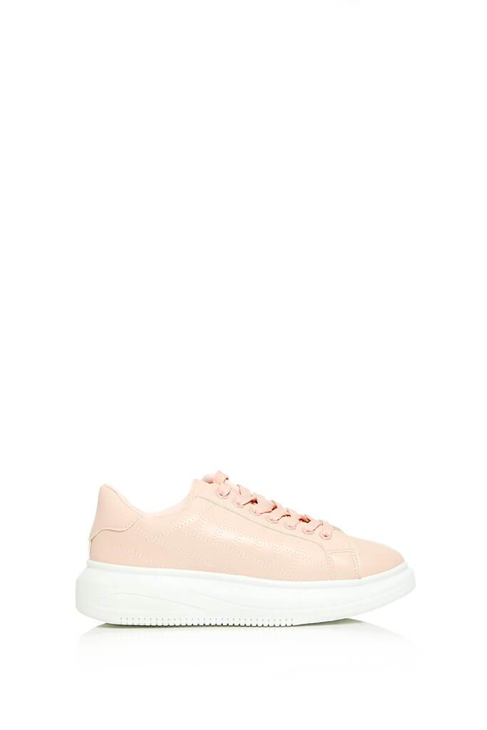 Blush Pink Contrast Platform Trainers