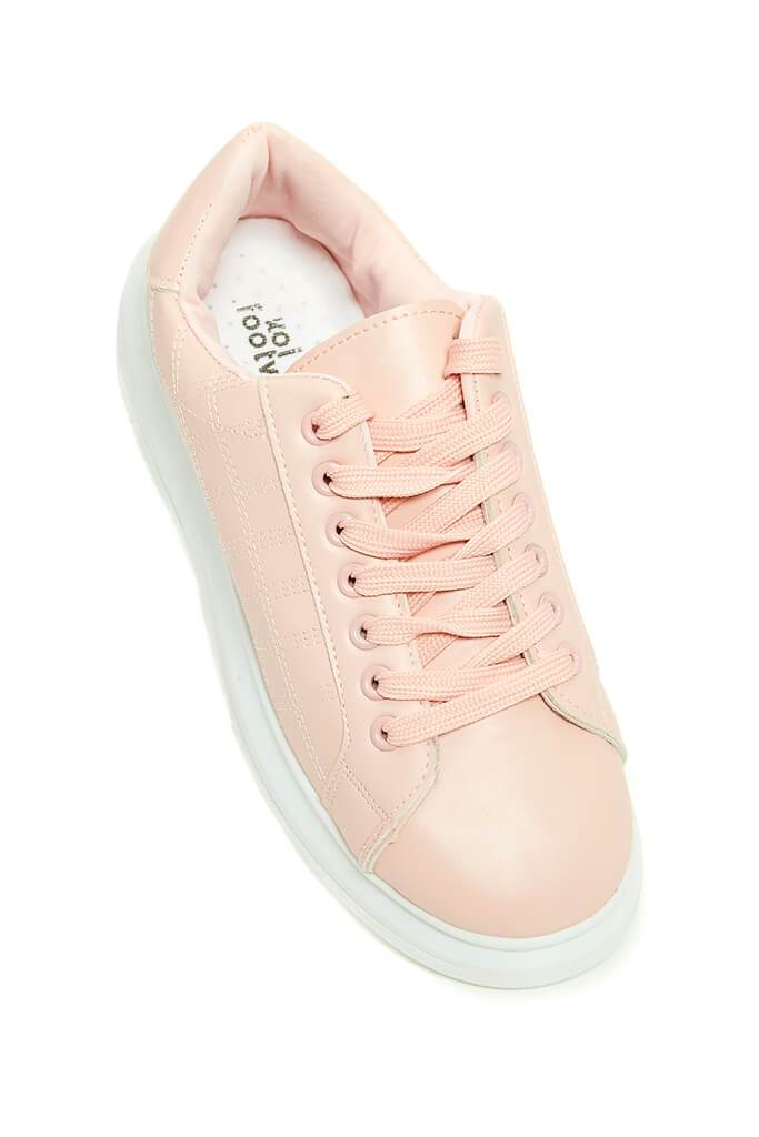 Blush Pink Contrast Platform Trainers view 2