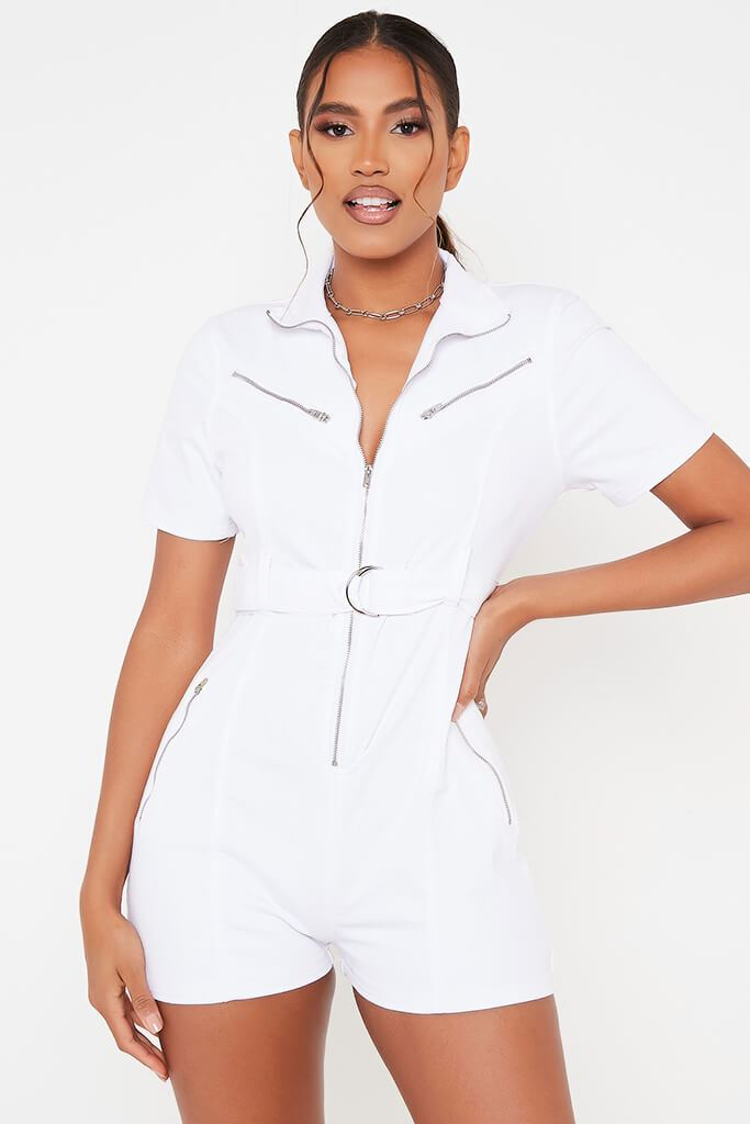 White Denim Zip Front Playsuit