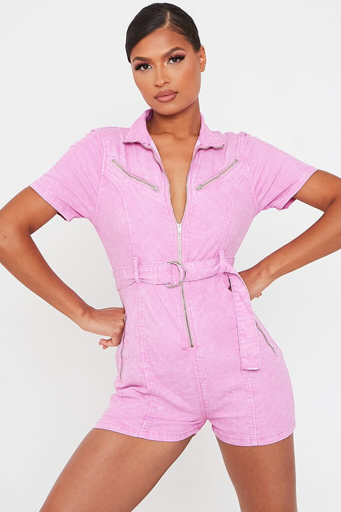 Baby Pink Denim Zip Front Playsuit