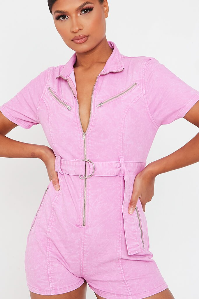 Baby Pink Denim Zip Front Playsuit view 4