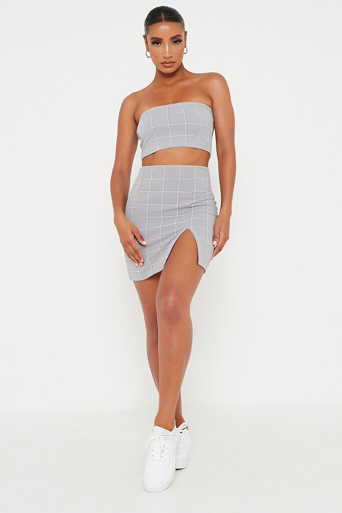 Grey Check Print Split Front Mini Skirt view 2