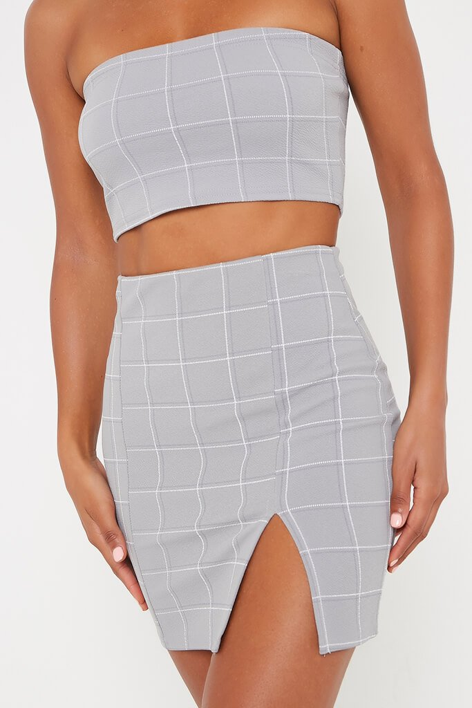 Grey Check Print Split Front Mini Skirt view 4