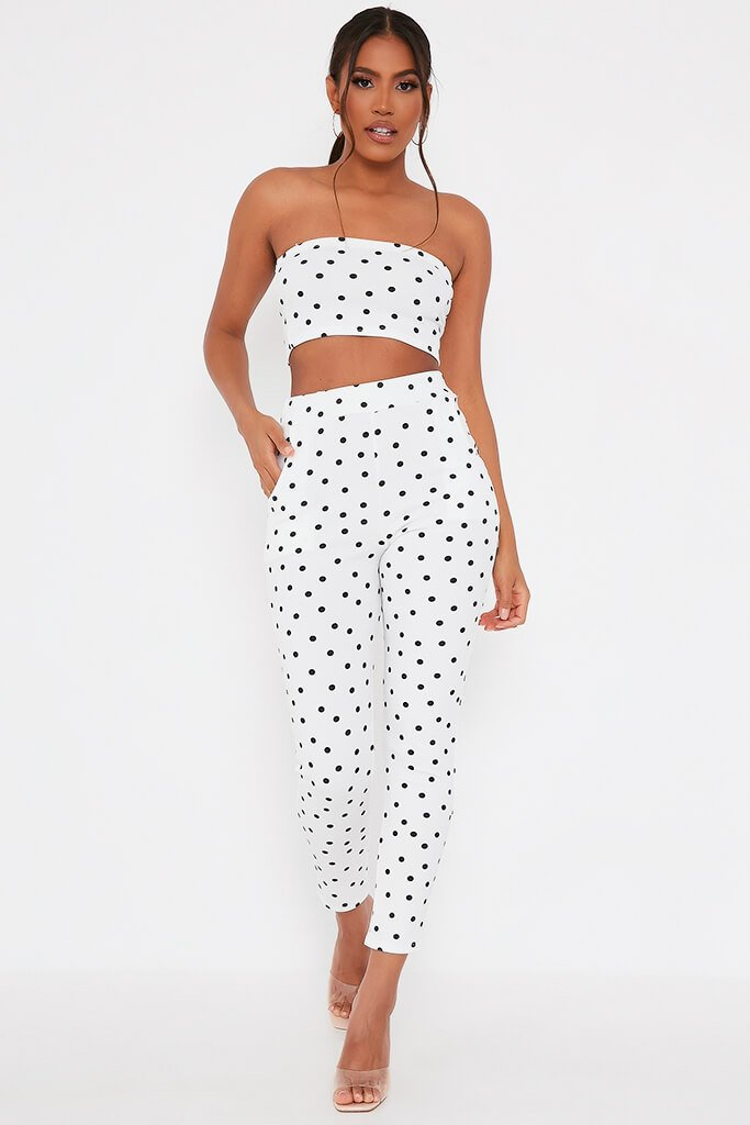 White Polka Dot Print Bandeau view 2