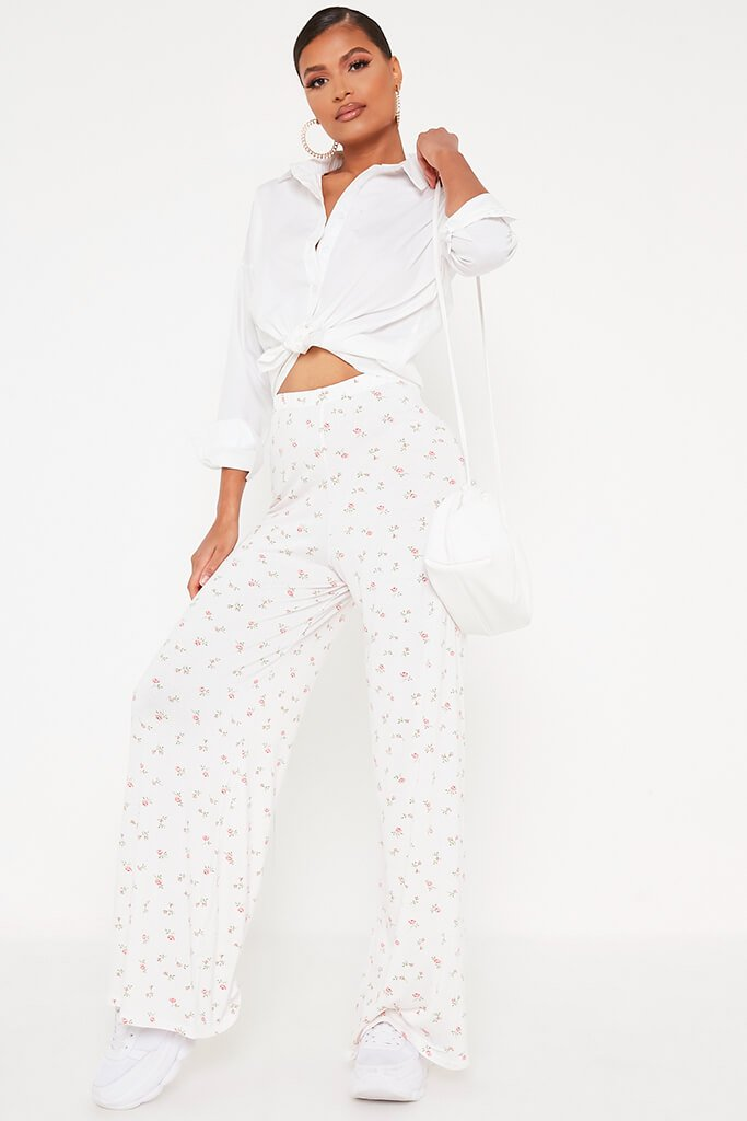 White Ditsy Floral Wide Leg Trousers
