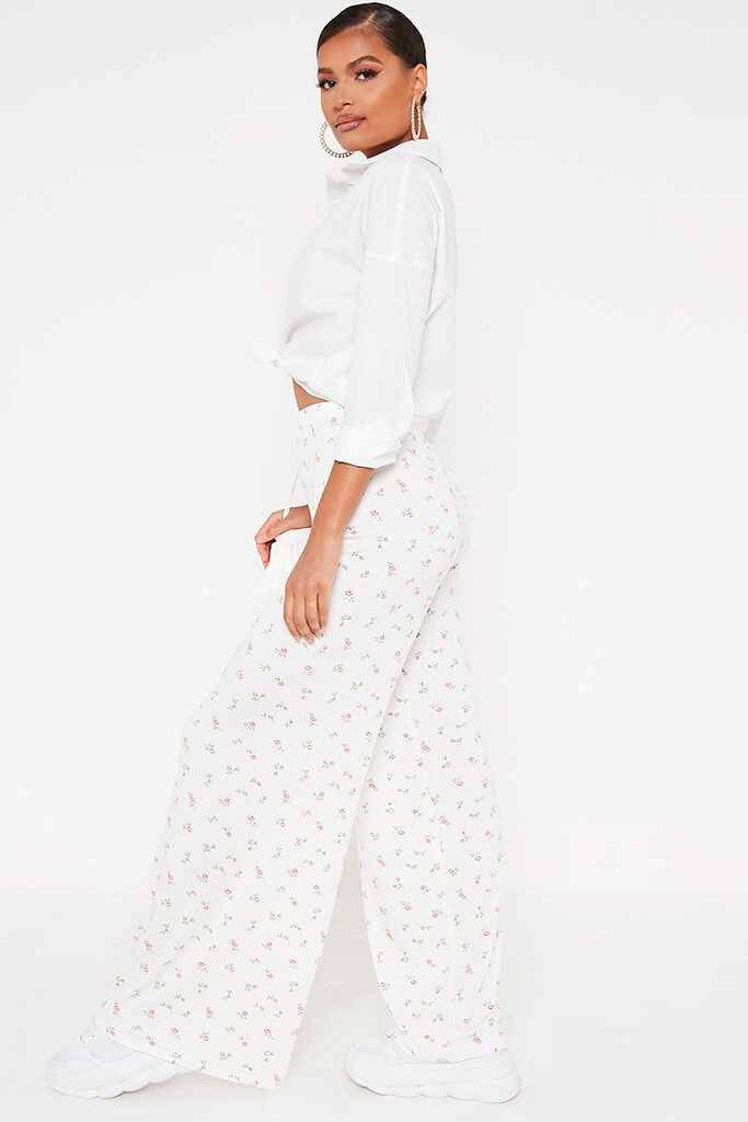 White Ditsy Floral Wide Leg Trousers view 3