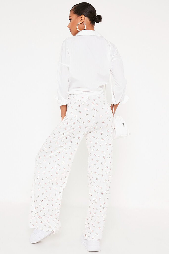 White Ditsy Floral Wide Leg Trousers view 5