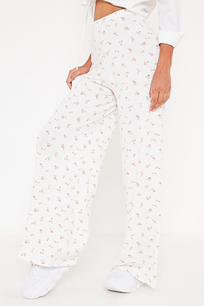 White Ditsy Floral Wide Leg Trousers view 2