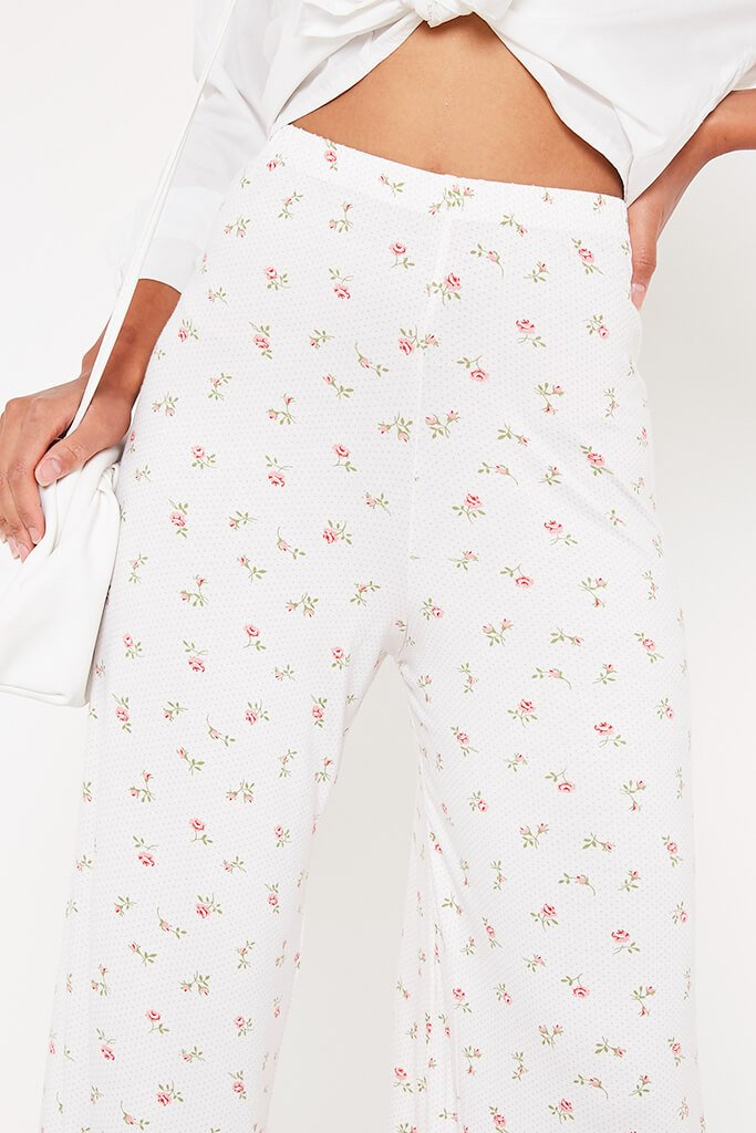 White Ditsy Floral Wide Leg Trousers view 4