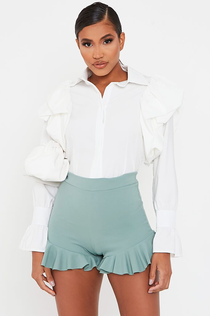 Sage High Waist Frill Shorts