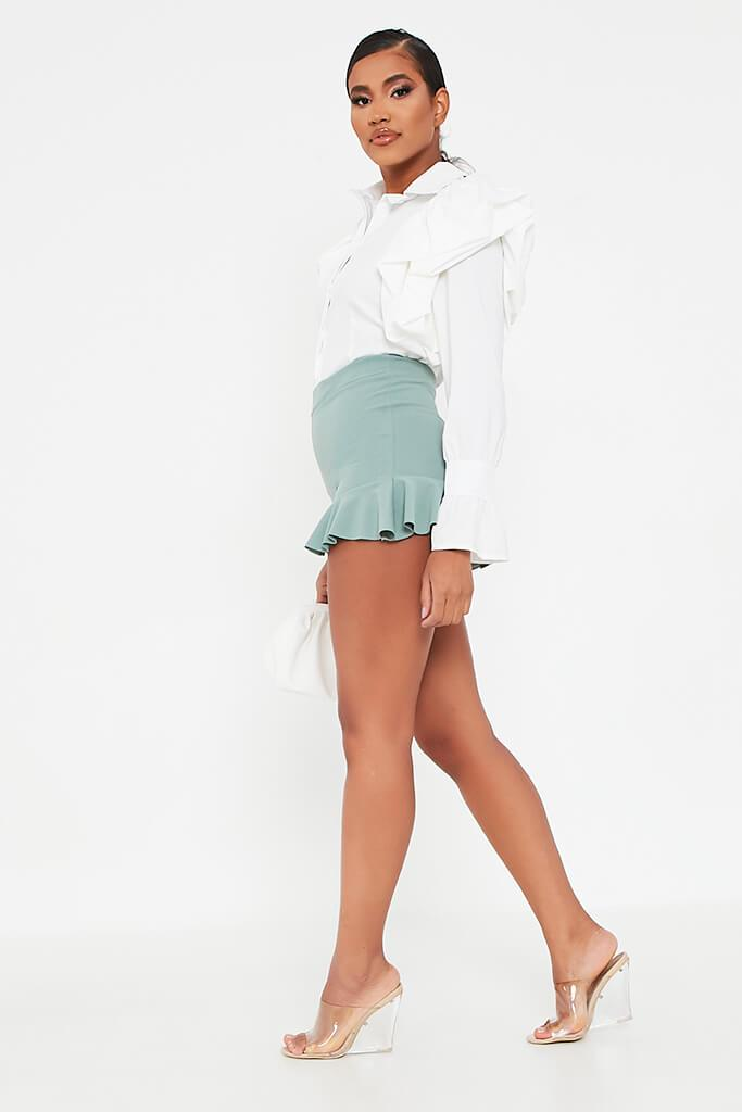 Sage High Waist Frill Shorts view 3